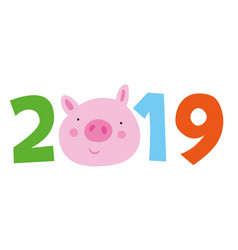 Chinese calendar symbol of 2019 year yellow pig vector