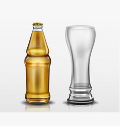 clear bottle with beer and empty tall glass vector image