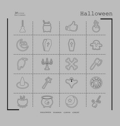 Collection of 20 halloween icons in thin line vector