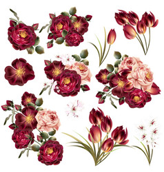 collection of realistic pastel flowers vector image