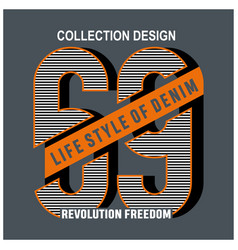 collection six nine graphic t-shirt vector image