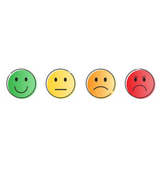 Colorful smiling cartoon face people emotion icon vector