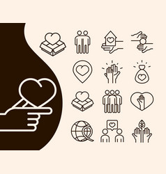 community together charity donation and love line vector image