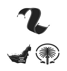Country united arab emirates black icons in set vector