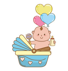 cute bashower cartoon vector image