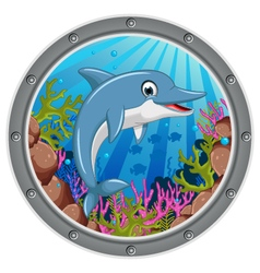Cute dolphin cartoon jumping vector