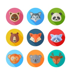 Cute flat animals portraits icons vector