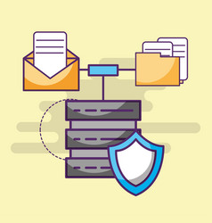 data server digital shield email and files vector image