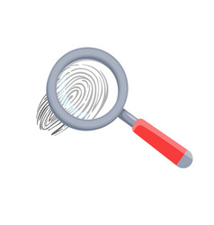 detective magnifying glass and human finger print vector image