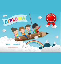 Diploma template for kids certificates children vector