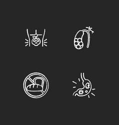 Discomfort in abdomen chalk white icons set vector