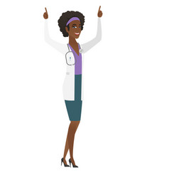 doctor standing with raised arms up vector image