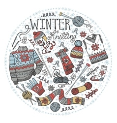 Doodle winter knittingCircle compositionColored vector
