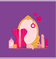 Dressing table with mirror boudoir concept vector