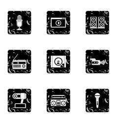 Electronic communication icons set grunge style vector