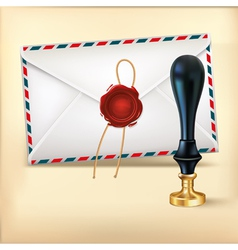 Envelope and Rad wax with Wax seal stamp vector image