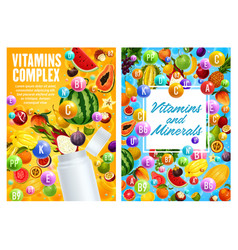 exotic fruits vitamins and minerals vector image