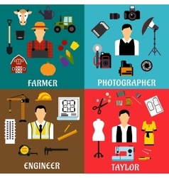 Farmer engineer photographer and tailor icons vector