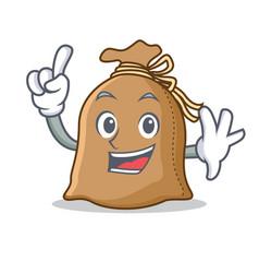 Finger sack mascot cartoon style vector