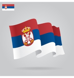 Flat and waving serbian flag vector