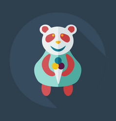 Flat modern design with shadow icons panda eating vector