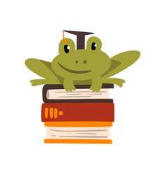 Frog in graduation cap sitting on a pile books vector