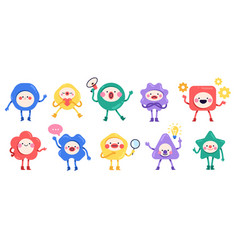 geometric cute characters simple color vector image