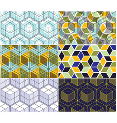 geometric lines abstract seamless patterns set 3d vector image