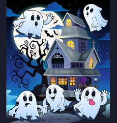 Ghosts near haunted house theme 5 vector