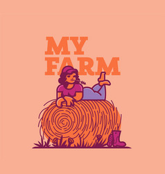 girl farmer resting in the field on a haystack vector image