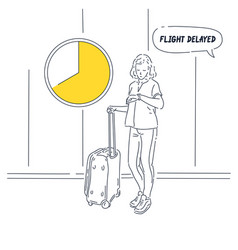 girl with suitcase stands and looks vector image