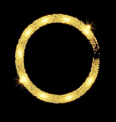 Gold glitter circle banner with stars vector