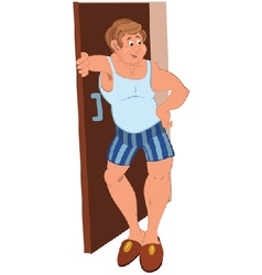 Happy cartoon man standing near the open door vector