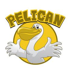 Happy cartoon pelican character vector