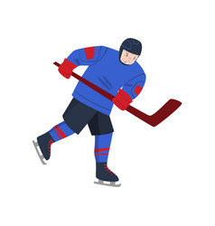 hockey player quickly goes on skates and raised vector image