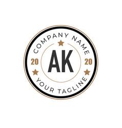 Initial letter ak elegance logo design template vector