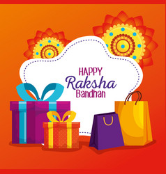 Label hindu flowers with presents gifts and vector