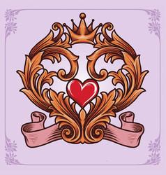 love calligraphy frame vintage ornaments vector image