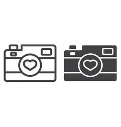 love camera line and glyph icon vector image