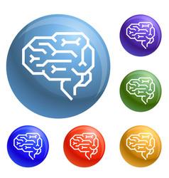 machine brain icons set vector image