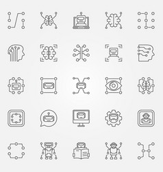 machine learning icons set artificial vector image