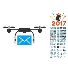 Mail Delivery Drone Icon With 2017 Year Bonus vector image