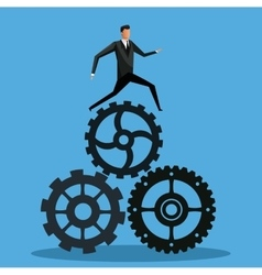 man business with gear team manager work vector image