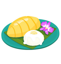 Mango with sticky rice thai dessert vector