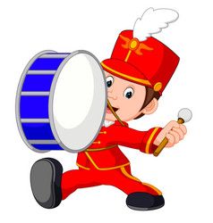 Marching band banging a big bass drum vector