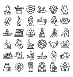 massage icons set outline style vector image