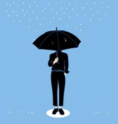 men hold umbrellas in the rainy season vector image
