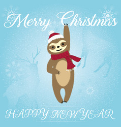 merry christmas sloth blue style vector image