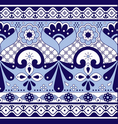 Mexican talavera poblana pottery seamless pattern vector