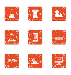 Modern fabric icons set grunge style vector